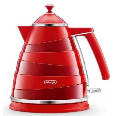 Электрический чайник Delonghi KBA 2001 красный (KBA2001.R) мультиварка delonghi fh 1394 2300 вт 5 л белый черный
