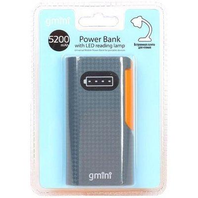 Внешний аккумулятор для портативных устройств Gmini GM-PB052L черный (GM-PB052L)Внешние аккумуляторы для портативных устройств Gmini<br>Внешний аккумулятор Gmini Reading Lamp Series GM-PB052L, Black + Orange, 5200mAh<br>
