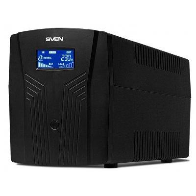 Источник бесперебойного питания SVEN Pro 1500 (SV-013875)Источники бесперебойного питания SVEN<br>ИБП SVEN Pro 1500 1500VA/900W LCD, USB, RJ-45 (3 EURO)<br>