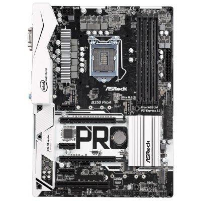 Материнская плата ПК ASRock B250 PRO4 (B250 PRO4)Материнские платы ПК ASRock<br>материнская плата форм-фактора ATX<br>сокет LGA1151<br>чипсет Intel B250<br>4 слота DDR4 DIMM, 2133-2400 МГц<br>поддержка CrossFire X<br>разъемы SATA: 6 Гбит/с - 6<br>