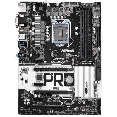 Материнская плата ПК ASRock Z270 PRO4 (Z270 PRO4)Материнские платы ПК ASRock<br>материнская плата форм-фактора ATX<br>сокет LGA1151<br>чипсет Intel Z270<br>4 слота DDR4 DIMM, 2133-3733 МГц<br>поддержка CrossFire X<br>разъемы SATA: 6 Гбит/с - 6<br>