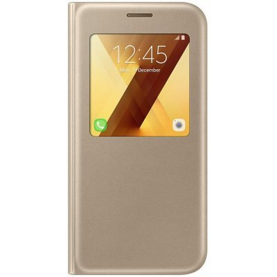Чехол для смартфона Samsung Galaxy A5 (2017) SM-A520F золотистый (EF-CA520PFEGRU) (EF-CA520PFEGRU)Чехлы для смартфонов Samsung<br>Чехол (флип-кейс) Samsung для Samsung Galaxy A5 (2017) S View Standing Cover золотистый (EF-CA520PFEGRU)<br>