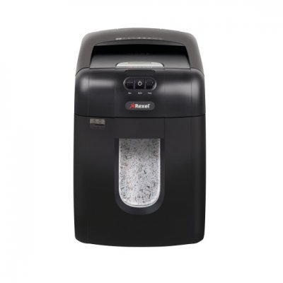 Шредер Rexel Auto+ 130M (2104100EUA)Шредеры Rexel<br>Шредер поперечной резки для офиса. Рассчитан на уничтожение скрепленных скобами и скрепкам документов, а также кредитных карточек. Ультранизкий уровень шума. Переключается в экономный режим. Объем корзины 26 л. Уровень секретности 5. Мощность резки 130 листов. Размер фрагмента 2х15 мм.<br>