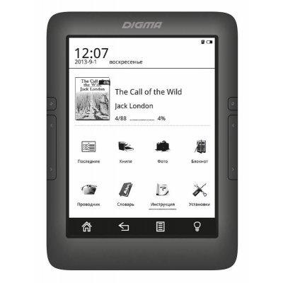 Электронная книга Digma S677 6 черный (S677BK)Электронные книги Digma<br>Электронная книга Digma S677 6 E-ink HD Pearl 1024x758 Touch Screen 600MHz/8Gb/microSDHC/подсветка дисплея черный<br>