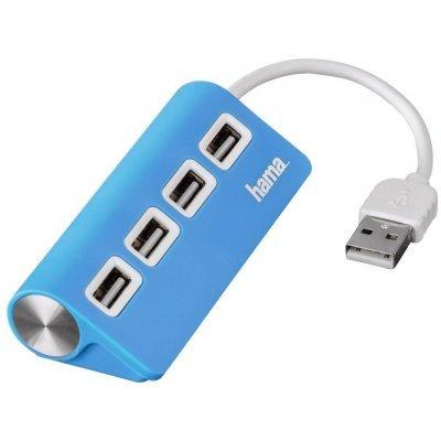 USB концентратор Hama TopSide голубой (00012179)USB концентраторы Hama<br>Разветвитель USB 2.0 Hama TopSide 4порт. голубой (00012179)<br>