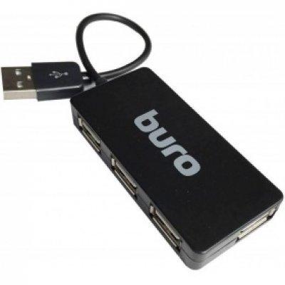 USB концентратор Buro BU-HUB4-U2.0-Slim черный (BU-HUB4-U2.0-SLIM)USB концентраторы Buro<br>Разветвитель USB 2.0 Buro BU-HUB4-U2.0-Slim 4порт. черный<br>