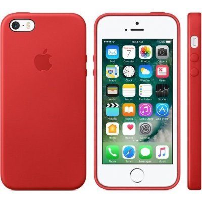 Чехол для смартфона Apple iPhone 5/5s/SE Leather Case красный (MNYV2ZM/A)Чехлы для смартфонов Apple<br>Чехол iPhone 5/5s/SE Leather Case красный<br>