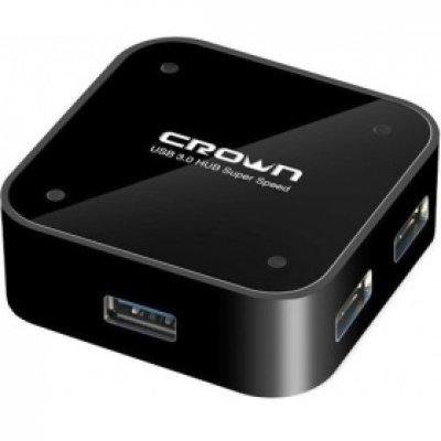 USB концентратор Crown CMU3-04 (CM000001183, CMU3-04 (4 PORTS black) 3.0)USB концентраторы Crown<br>Хаб USB CROWN CMU3-04 (4 PORTS,black) 3.0<br>
