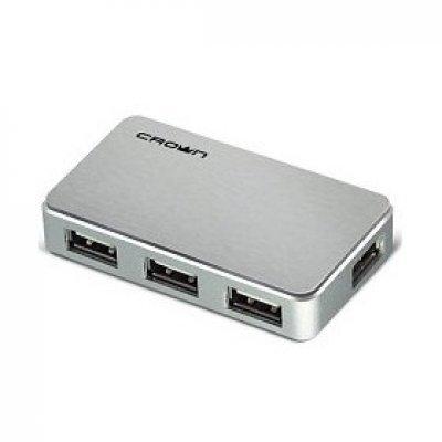 USB концентратор Crown CMH-B19 серебористый (CM000001180, CMH-B19 (4 PORTS silver) 2.0)USB концентраторы Crown<br>Хаб USB CROWN CMH-B19 (4 PORTS,silver) 2.0<br>