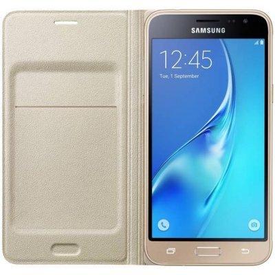Чехол для смартфона Samsung Galaxy J3 (2016) SM-J320F/DS /SM-J320H/DS золотистый (EF-WJ320PFEGRU) (EF-WJ320PFEGRU)Чехлы для смартфонов Samsung<br>Чехол (флип-кейс) Samsung для Samsung Galaxy J3 (2016) Flip Wallet золотистый (EF-WJ320PFEGRU)<br>