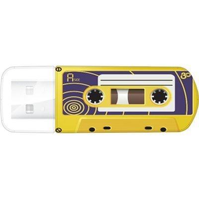 USB накопитель Verbatim 32Gb Mini Cassette Edition желтый/рисунок (49393)USB накопители Verbatim<br>Флеш Диск Verbatim 32Gb Mini Cassette Edition 49393 USB2.0 желтый/рисунок<br>