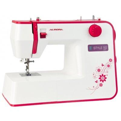 Швейная машина Aurora Style 50 (Aurora Style 50)Швейные машины Aurora<br>швейная машина<br>электромеханическое управление<br>качающийся челнок<br>количество операций: 12<br>автоматическая обработка петли<br>потайная строчка, эластичная строчка, эластичная потайная строчка<br>швейный советник<br>рукавная платформа<br>