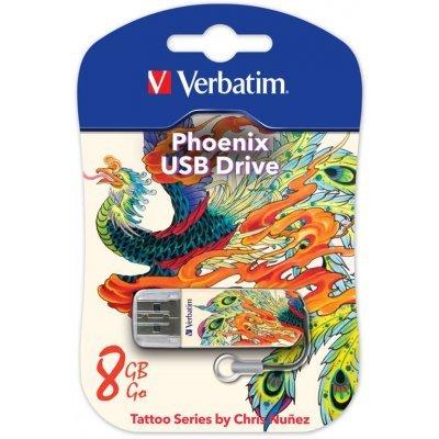 USB накопитель Verbatim 8Gb Store n Go Mini Tattoo Phoenix белый/рисунок (49883), арт: 260369 -  USB накопители Verbatim
