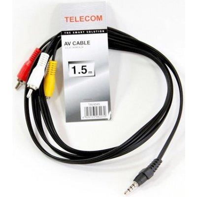 Кабель аудио 3,5 мм Telecom TAV4545-1.5M (TAV4545-1.5M)Кабели аудио 3,5 мм Telecom<br>Кабель соединительный 3.5 Jack (M)/3 RCA (M) Telecom  &amp;lt;TAV4545-1.5M&amp;gt;<br>