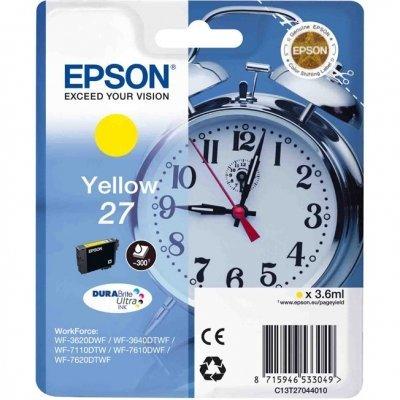 Картридж для струйных аппаратов Epson C13T27044020 желтый для WF7110/7610/7620 (350стр.) (C13T27044020)Картриджи для струйных аппаратов Epson<br>Картридж струйный Epson C13T27044020 желтый для Epson WF7110/7610/7620 (350стр.)<br>