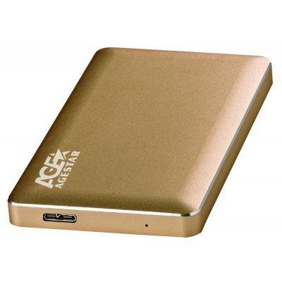 Корпус для жесткого диска Agestar 3UB2A16 золотистый (3UB2A16)Корпуса для жестких дисков Agestar<br>Внешний корпус для HDD AgeStar 3UB2A16 SATA алюминий золотистый 2.5<br>