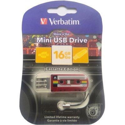 USB накопитель Verbatim 16Gb Mini Cassette Edition красный/рисунок (49398), арт: 261673 -  USB накопители Verbatim