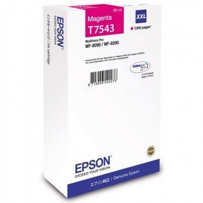Картридж для струйных аппаратов Epson T7543 пурпурный экстраповышенной емкости для WF-8090/8590 (C13T754340)Картриджи для струйных аппаратов Epson<br>Картридж EPSON T7543 пурпурный экстраповышенной емкости для WF-8090/8590<br>