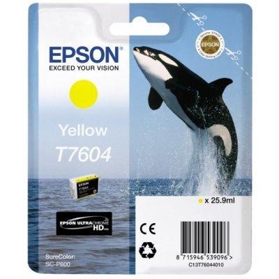 Картридж для струйных аппаратов Epson T7604 желтый для SC-P600 (C13T76044010) принтер epson surecolor sc p600