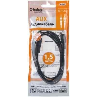 Кабель аудио 3,5 мм Belsis BL1065 1,5м (BL1065) кабель 3 5m 2xrca 5м belsis sn1038 sparks nickel стерео аудио 3 5mm plug 2xrca