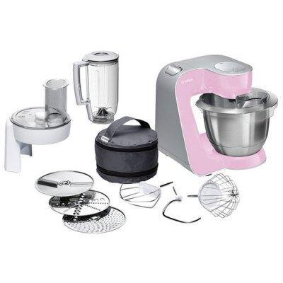 Кухонный комбайн Bosch MUM 58K20 розовый/серебристый (MUM58K20)Кухонные комбайны Bosch<br>комбайн<br>мощность 1000 Вт<br>блендер<br>для большого количества продуктов<br>компактное хранение насадок<br>