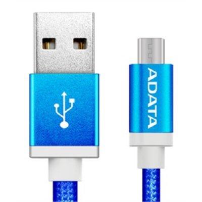 Кабель USB A-Data AMUCAL-100CMK-CBL (AMUCAL-100CMK-CBL)Кабели USB A-Data<br>Кабель A-DATA microUSB-USB для зарядки и синхронизации 1м, металлический, Blue<br>