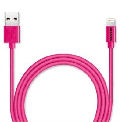Кабель USB A-Data AMFIPL-100CM-CPK (AMFIPL-100CM-CPK)Кабели USB A-Data<br>Кабель A-DATA Lightning-USB для зарядки и синхронизации iPhone, iPad, iPod (сертифицирован Apple) 1м, Pink<br>