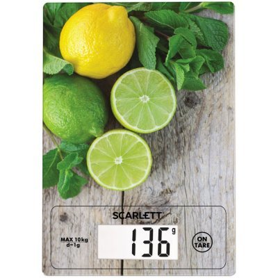 Весы кухонные Scarlett SC-KS57P21 рисунок: лимон/зелень (SС-KS57P21)