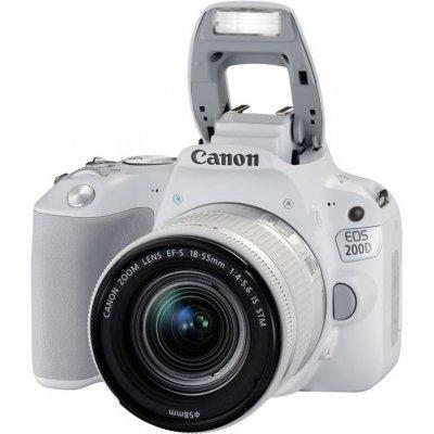Цифровая фотокамера Canon EOS 200D 24.2Mpix EF-S 18-55mm белый (2253C001) canon eos 50d kit ef s 18 200