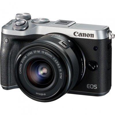 Цифровая фотокамера Canon EOS M6 15-45 IS STM черный/серебристый (1725C012) canon canon eos m100 белый миниатюрный одиночный комплект ef m 15 45mm f 3 5 6 3 is stm объектив