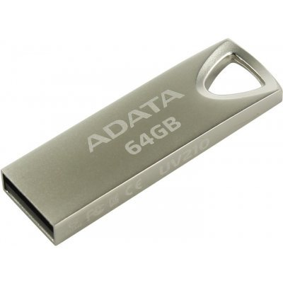 USB накопитель A-Data UV210, 64GB, USB 2.0, Металлич., Серебро (AUV210-64G-RGD), арт: 273091 -  USB накопители A-Data