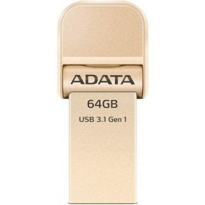 USB накопитель A-Data i-Memory AI920, 64GB, USB 3.1/Lightning, Gold (AAI920-64G-CGD), арт: 273096 -  USB накопители A-Data