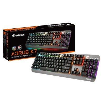 Клавиатура Gigabyte RUS BLACK AORUS K7 (AORUSK7RUREDSW) клавиатура asus strix tactic pro cherry mx black black usb 90yh0081 b2ra00