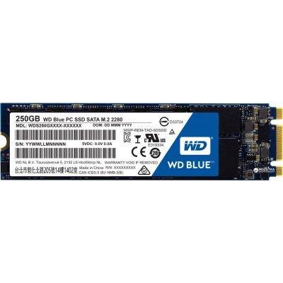 Накопитель SSD Western Digital 250Gb SATA III WDS250G2B0B WD Blue M.2 (WDS250G2B0B) жесткий диск пк western digital wds250g2b0a 250gb wds250g2b0a