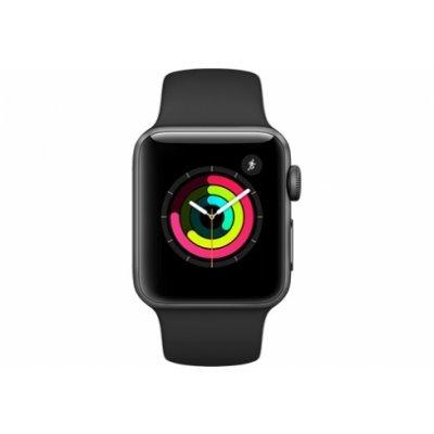 Умные часы Apple Watch Series 3 38mm алюминиевый корпус серого цвета, черный ремешок (MQKV2RU/A) смарт часы apple watch series 2