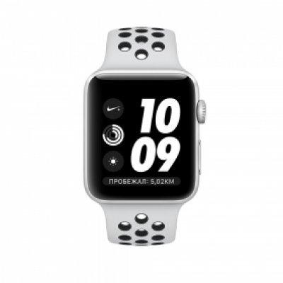 Умные часы Apple Watch Nike+ GPS Series 3 38mm алюминиевый корпус серебристого цвета, ремешок платина/черный (MQKX2RU/A)