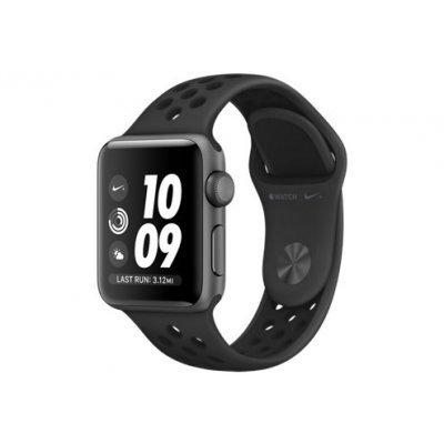 Умные часы Apple Watch Nike+ GPS Series 3 38mm алюминиевый корпус цвета серый космос, ремешок антрацитовый/чёрный (MQKY2RU/A)