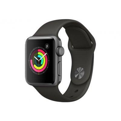 Фотография Умные часы Apple Watch Series 3 38mm алюминиевый корпус цвета серый космос, серый ремешок (MR352RU/A)