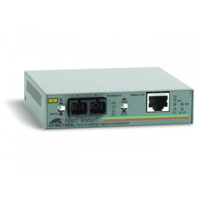 Медиаконвертор Allied Telesis AT-MC102XL (AT-MC102XL)Медиаконвертеры Allied Telesis<br>RJ-45 to 100FX (SC) Fast Ethernet media converter<br>