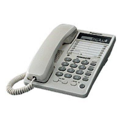 Проводной телефон Panasonic KX-TS2362 белый (KX-TS2362RUW)Проводные телефоны Panasonic<br>30 ст., дисплей, часы, гнездо для гарнитуры, лампа зв.<br>