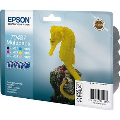 Картридж (C13T04874010) EPSON T0487 для R200/ R220/ R300/ R320/ R340/ RX500/ RX600/ RX620 (C13T04874010)Картриджи для струйных аппаратов Epson<br>Экономичный набор из 6 картриджей ( желтый, светло-голубой, светло-пурпурный, черный, голубой, пурпурный)<br>