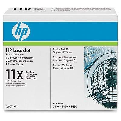Двойная упаковка картриджа HP (Q6511XD) для HP LJ 2410/20/30 (Q6511XD)Тонер-картриджи для лазерных аппаратов HP<br>Подходит к HP LaserJet 2420d (Q5957A), 2420dn (Q5959A), 2420n (Q5958A), 2430dtn (Q5962A), <br>2430t (Q5960A).<br>