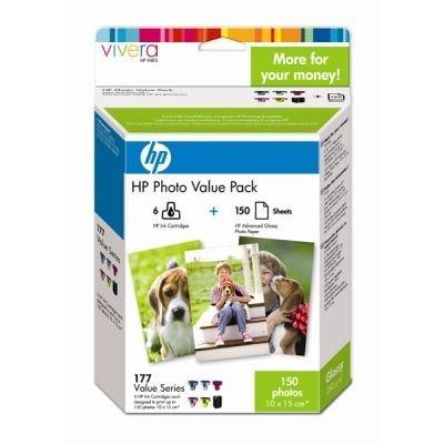 Экономичный набор НР (Q7967HE) для фотопечати с 6 картриджами HP 177 плюс 150 листов глянцевой фотобумаги (210 г/м2) формата 10x15 см (Q7967HE)Картриджи для струйных аппаратов HP<br><br>