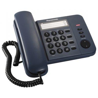 Проводной телефон Panasonic KX-TS2352 синий (KX-TS2352RUC) проводной телефон panasonic kx ts2352rub черный