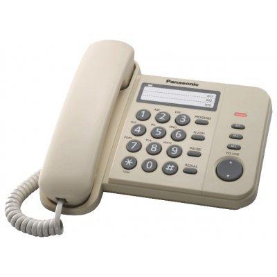 Проводной телефон Panasonic KX-TS2352 белый (KX-TS2352RUW)Проводные телефоны Panasonic<br>Телефон (3 ст., индикатор звонка)<br>