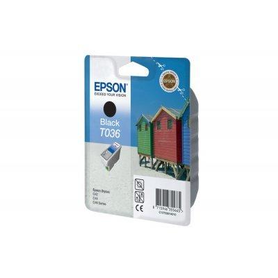 Картридж (C13T03614010) EPSON T036 для Stylus C42/C44/C46 черный (C13T03614010)Картриджи для струйных аппаратов Epson<br>Ресурс (5% заполнении) - 220 стр. Емкость - 10 мл.  Для EPSON ST С42.<br>