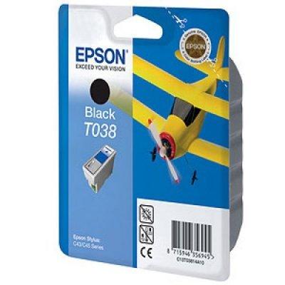 Картридж (C13T03814A10) EPSON T038 для Stylus C43/C45 черный (C13T03814A10)Картриджи для струйных аппаратов Epson<br>Ресурс (5% заполнении) - 220 стр.<br>Емкость - 10 мл.<br>