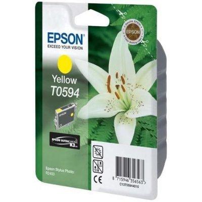 Картридж (C13T05944010) EPSON T0594 для Stylus Photo R2400 желтый (C13T05944010)Картриджи для струйных аппаратов Epson<br>Ресурс: до 440 страниц (при 5% заполнении страницы), формата А4. Совместимость с моделями: Epson Stylus Photo R2400<br>