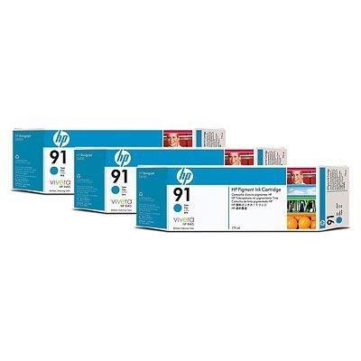 Набор картриджей HP № 91 (C9483A) 775мл, 3шт, голубой (C9483A)Картриджи для струйных аппаратов HP<br>Совместим с : Фотопринтер HP Designjet Z6100 1067 мм (Q6651A)<br>Фотопринтер HP Designjet Z6100 1524 мм (Q6652A)<br>Фотопринтер HP Designjet Z6100ps 1067 мм (Q6653A)<br>