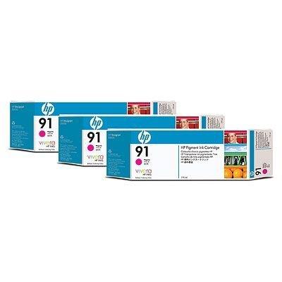 Набор картриджей HP № 91 (C9484A) 775мл, 3 шт, пурпурный (C9484A) for hp 91 designjet printhead c9460a c9461a c9462a c9463a for hp designjet z6100 z6100ps printer 100% genuine brand new